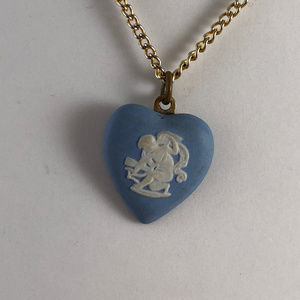Wedgwood Jewelry - Vintage Wedgwood Cameo Cupid Heart Pendant